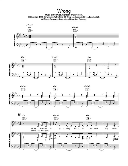 Everything But The Girl Wrong sheet music notes and chords