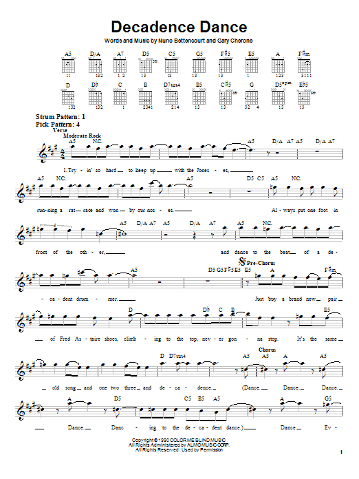 Extreme Decadence Dance sheet music notes and chords