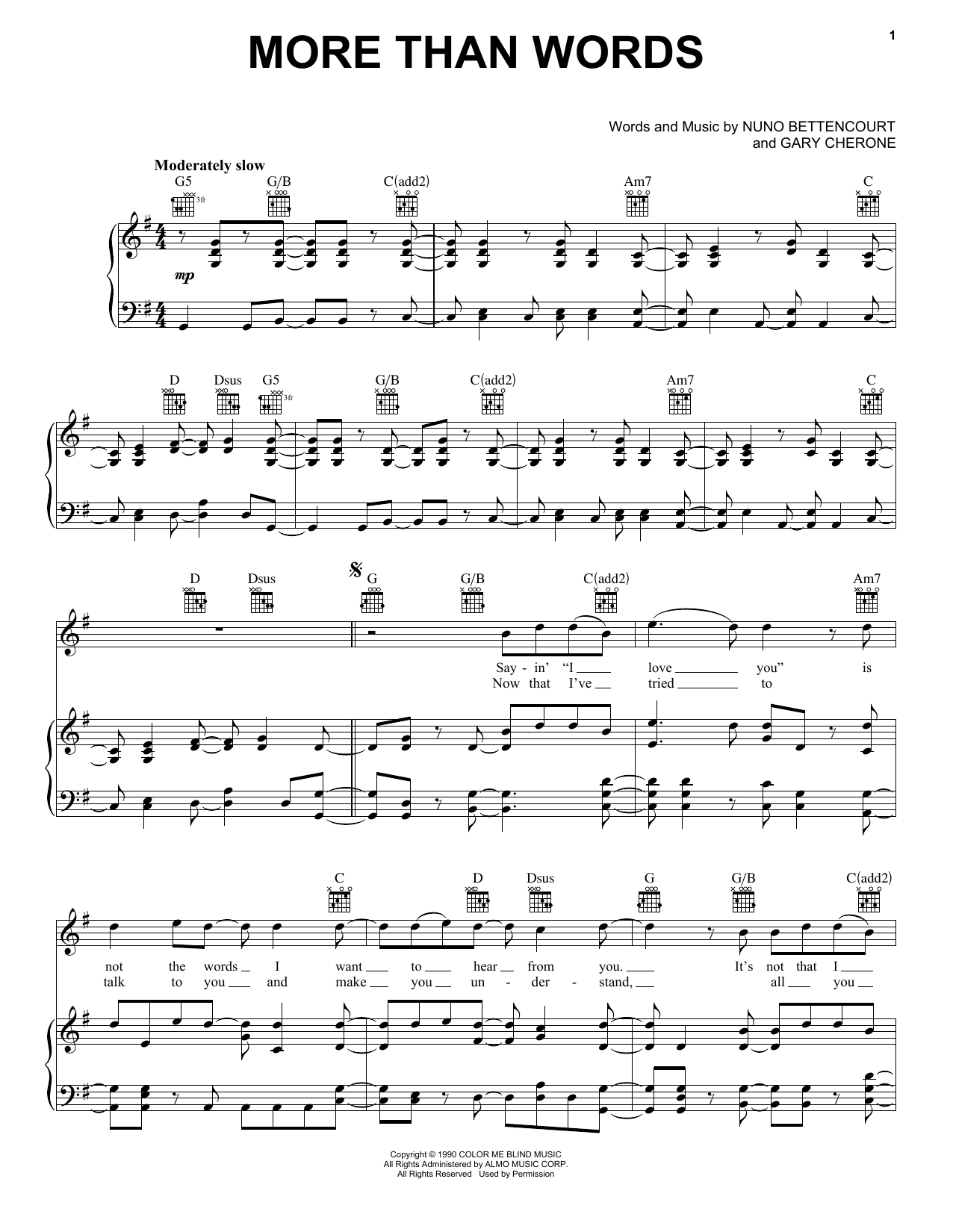 Extreme More Than Words sheet music notes and chords. Download Printable PDF.