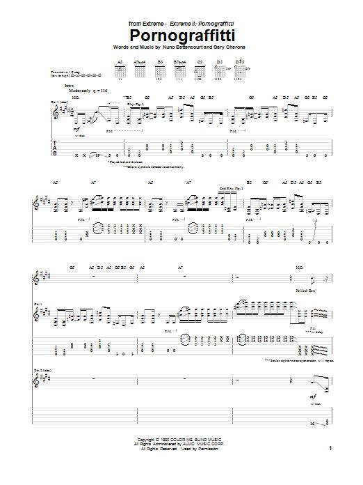 Extreme Pornograffitti sheet music notes and chords. Download Printable PDF.