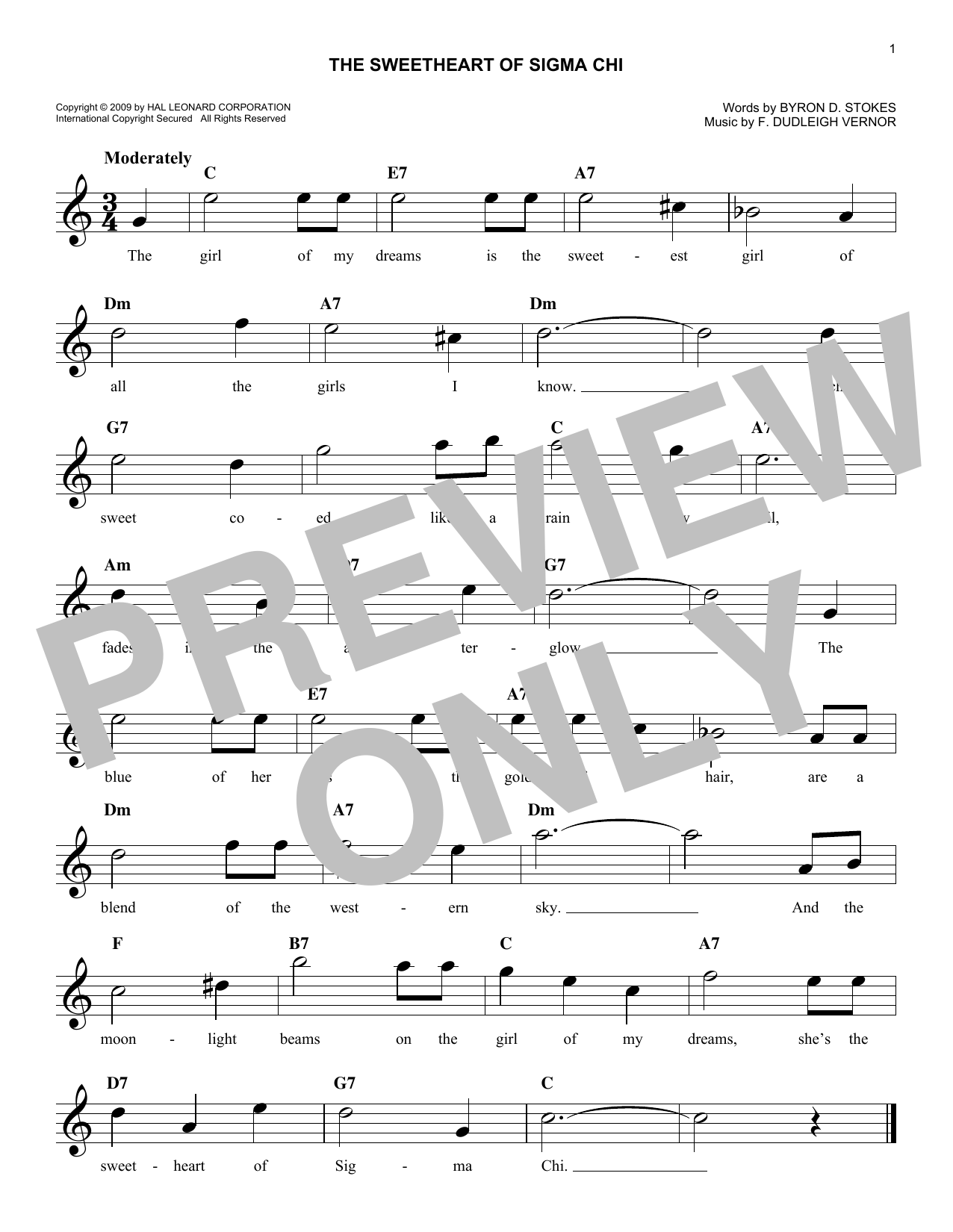 F. Dudleigh Vernor The Sweetheart Of Sigma Chi sheet music notes and chords. Download Printable PDF.