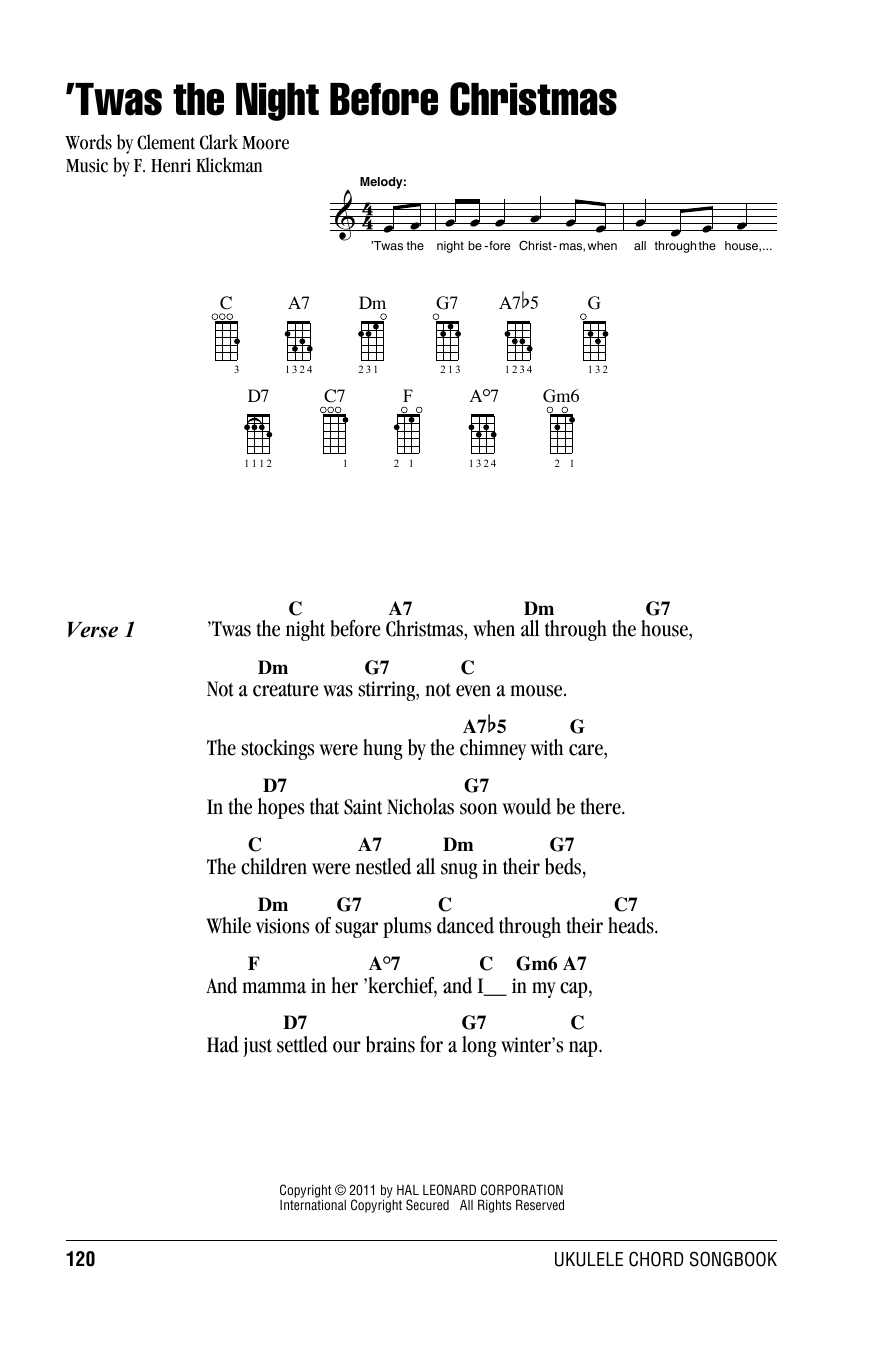 F. Henri Klickman 'Twas The Night Before Christmas sheet music notes and chords. Download Printable PDF.