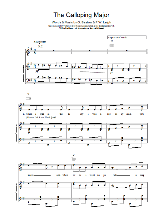 F.W. Leigh & G. Bastow The Galloping Major sheet music notes and chords. Download Printable PDF.