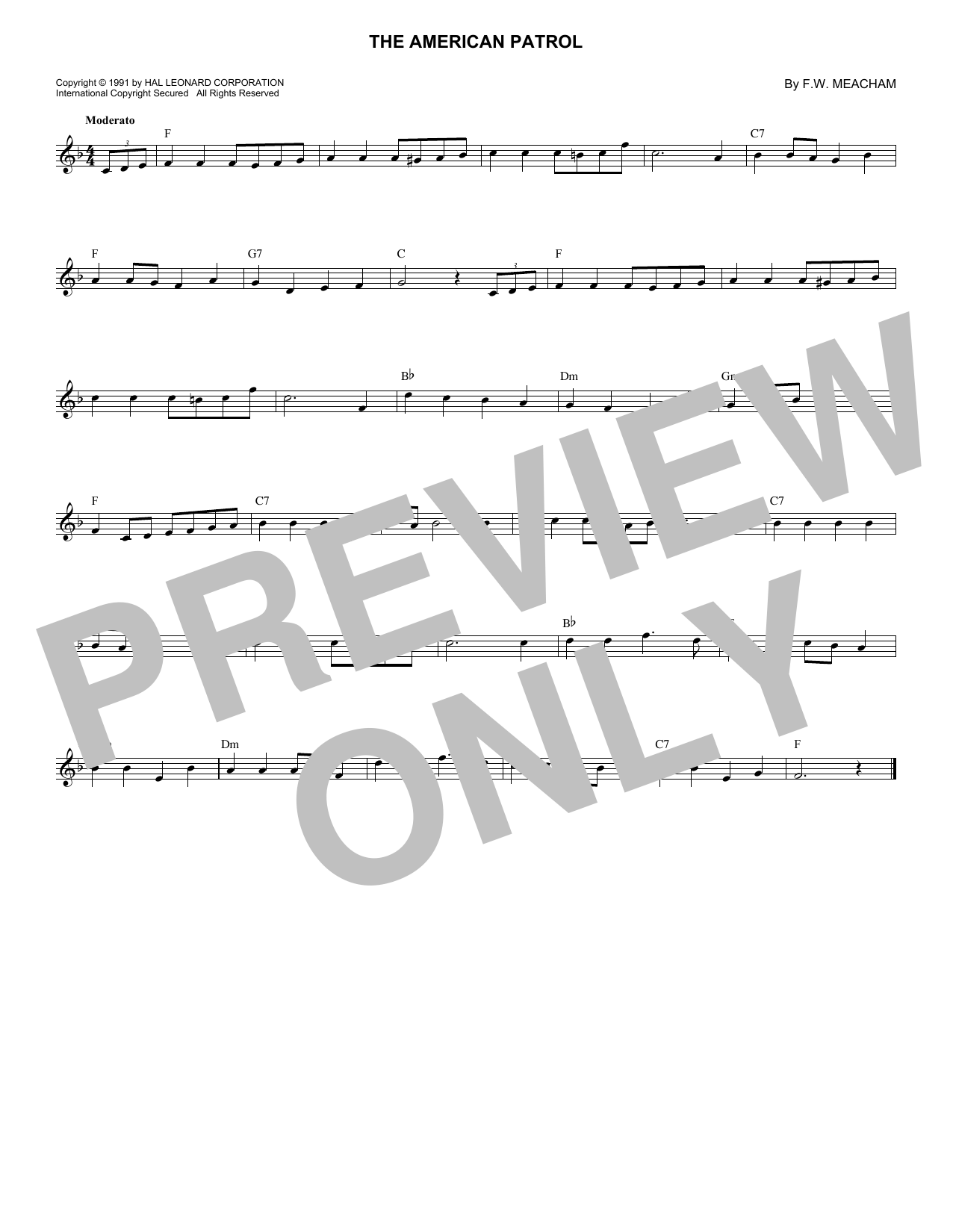 F.W. Meacham The American Patrol sheet music notes and chords. Download Printable PDF.