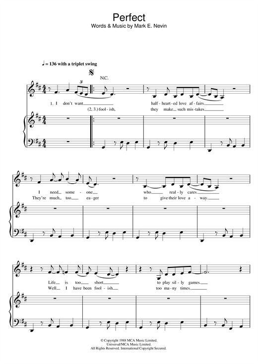 Fairground Attraction Perfect sheet music notes and chords