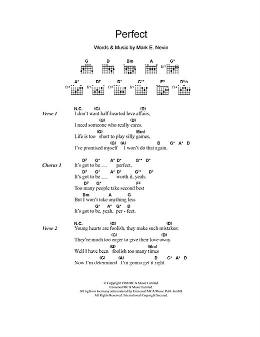 Fairground Attraction Perfect sheet music notes and chords. Download Printable PDF.