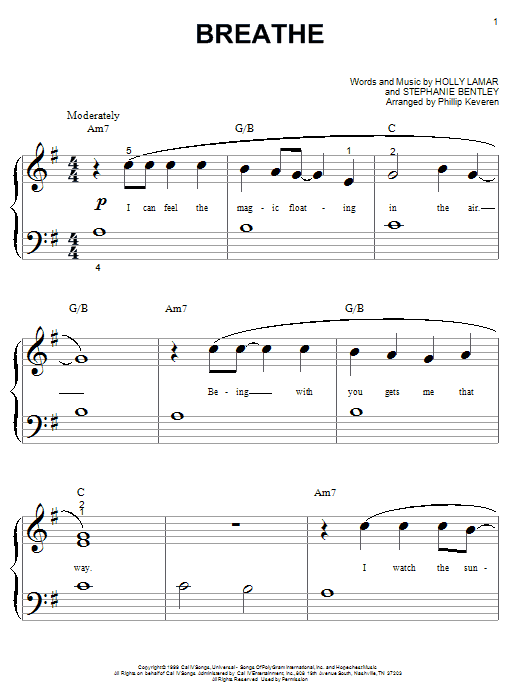 Faith Hill Breathe sheet music notes and chords. Download Printable PDF.