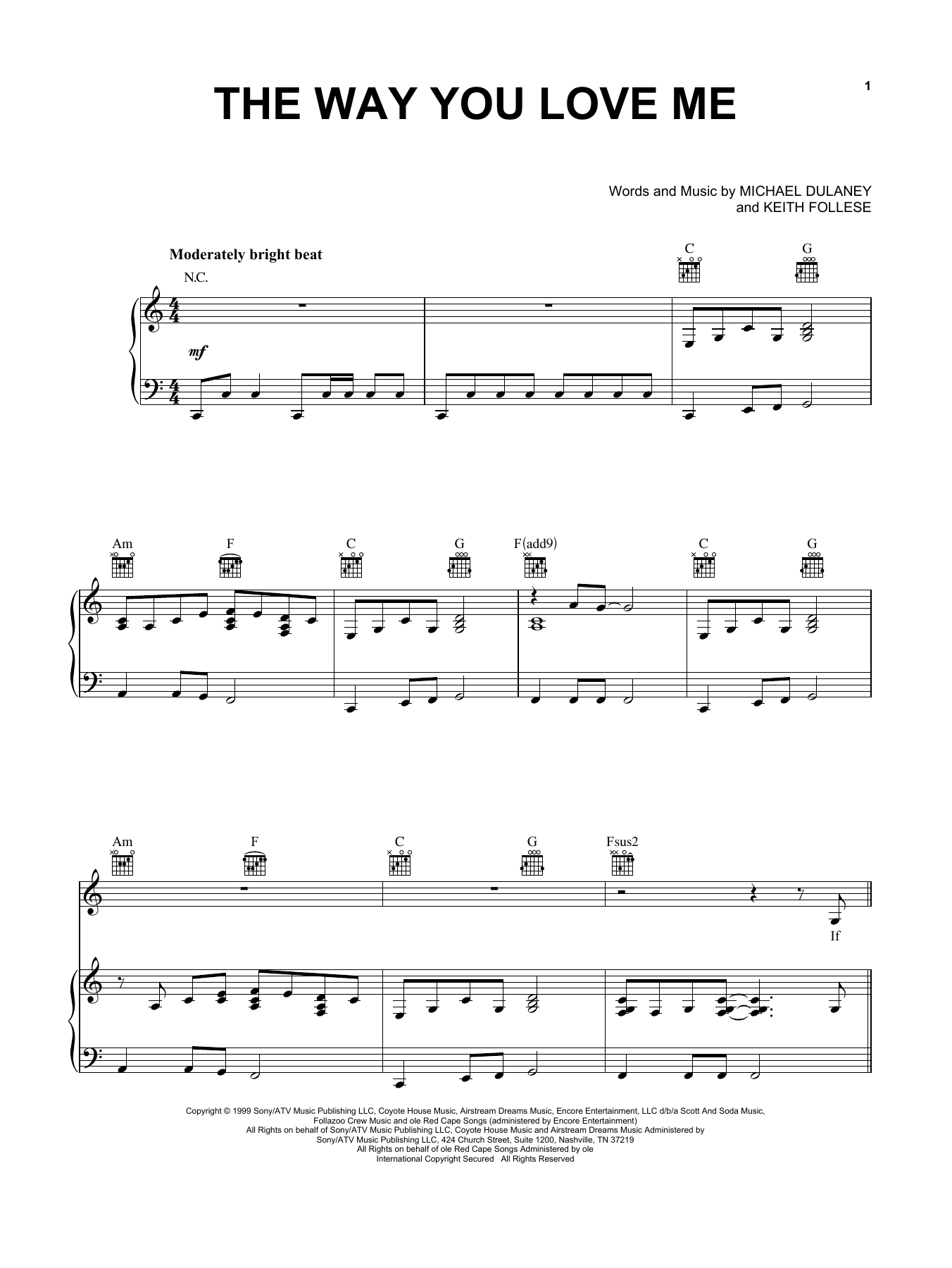 Faith Hill The Way You Love Me sheet music notes and chords