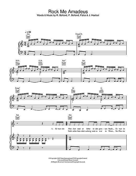 Falco Rock Me Amadeus sheet music notes and chords. Download Printable PDF.