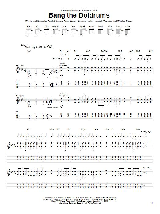 Fall Out Boy Bang The Doldrums sheet music notes and chords. Download Printable PDF.