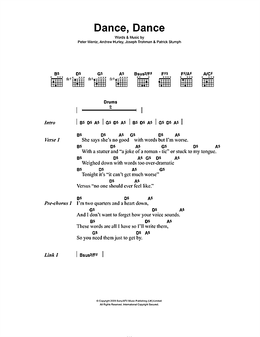 Fall Out Boy Dance, Dance sheet music notes and chords. Download Printable PDF.