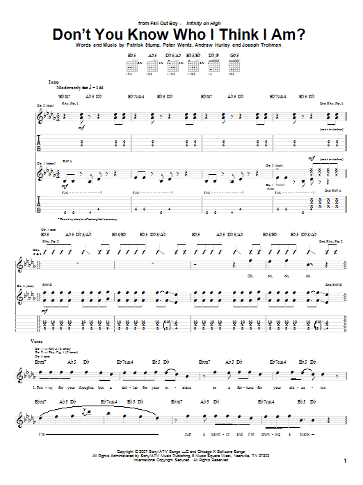 Fall Out Boy Don't You Know Who I Think I Am? sheet music notes and chords. Download Printable PDF.