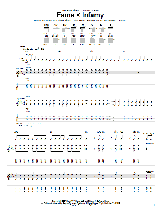 Fall Out Boy Fame < Infamy sheet music notes and chords. Download Printable PDF.