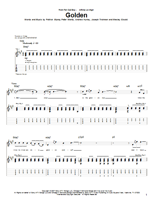 Fall Out Boy Golden sheet music notes and chords. Download Printable PDF.