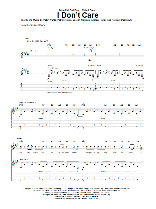 Fall Out Boy I Don't Care sheet music notes and chords. Download Printable PDF.