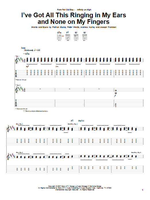 Fall Out Boy I've Got All This Ringing In My Ears And None On My Fingers sheet music notes and chords. Download Printable PDF.