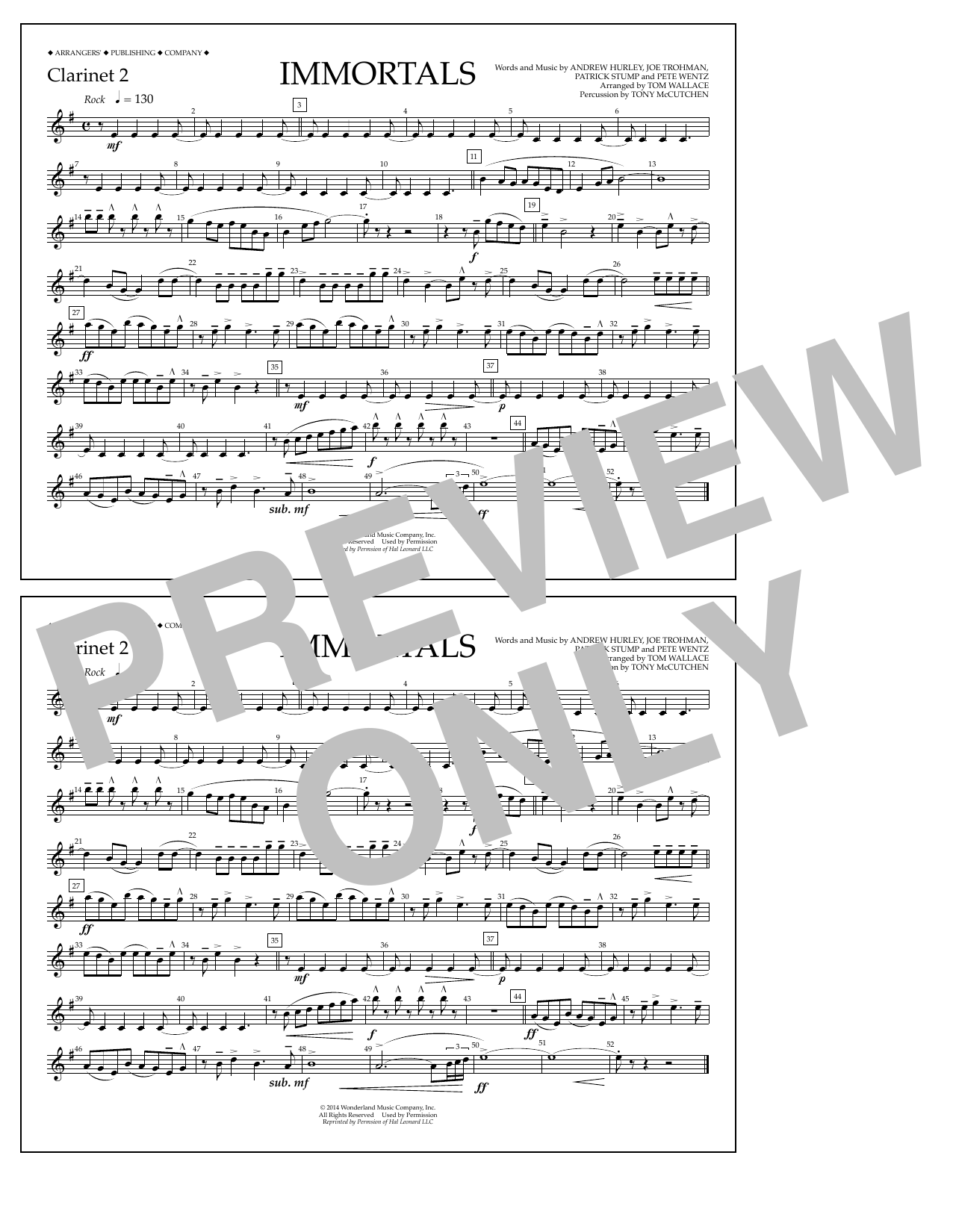 Fall Out Boy Immortals (from Big Hero 6) (arr. Tom Wallace) - Clarinet 2 sheet music notes and chords. Download Printable PDF.