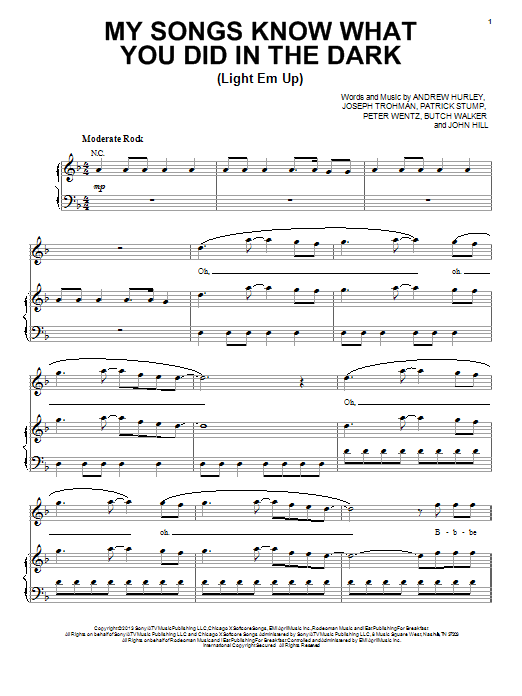 Fall Out Boy My Songs Know What You Did In The Dark (Light Em Up) sheet music notes and chords. Download Printable PDF.