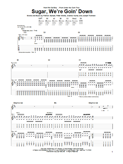 Fall Out Boy Sugar, We're Goin' Down sheet music notes and chords. Download Printable PDF.