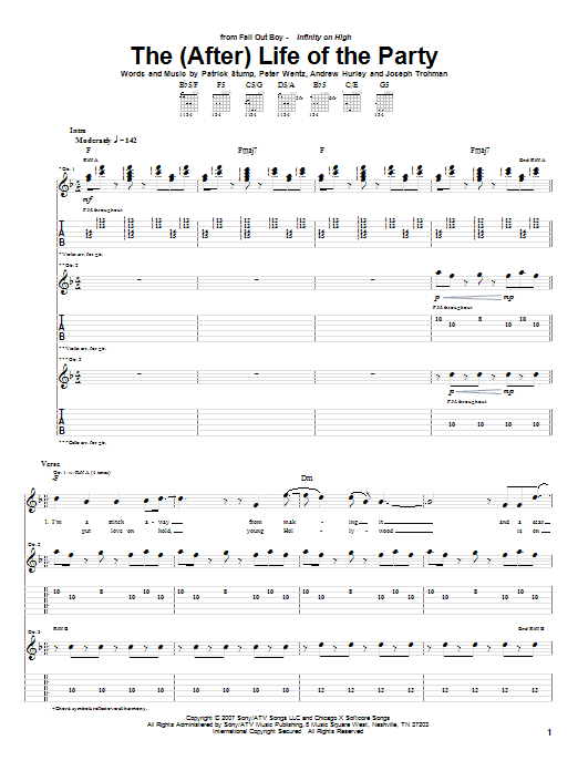 Fall Out Boy The (After) Life Of The Party sheet music notes and chords. Download Printable PDF.