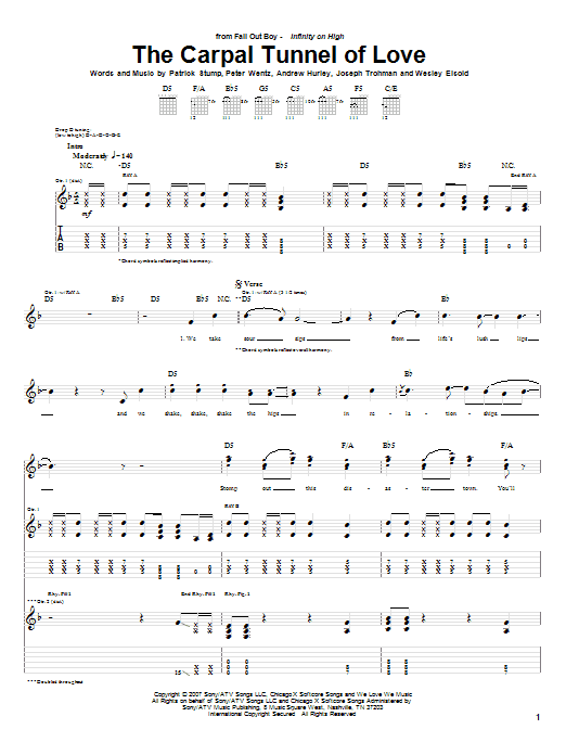 Fall Out Boy The Carpal Tunnel Of Love sheet music notes and chords. Download Printable PDF.