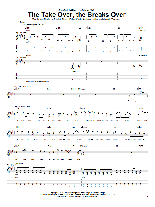Fall Out Boy The Take Over, The Breaks Over sheet music notes and chords. Download Printable PDF.