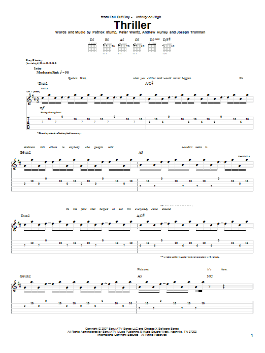 Fall Out Boy Thriller sheet music notes and chords. Download Printable PDF.