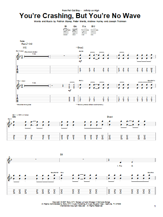 Fall Out Boy You're Crashing, But You're No Wave sheet music notes and chords. Download Printable PDF.