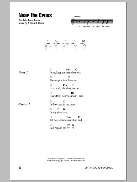 Fanny J. Crosby Near The Cross sheet music notes and chords. Download Printable PDF.