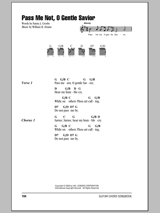 Fanny J. Crosby Pass Me Not, O Gentle Savior sheet music notes and chords. Download Printable PDF.