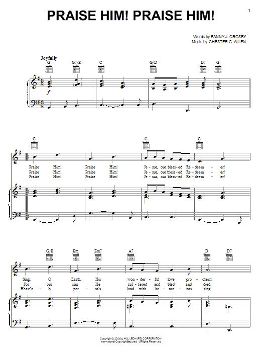 Fanny J. Crosby Praise Him! Praise Him! sheet music notes and chords
