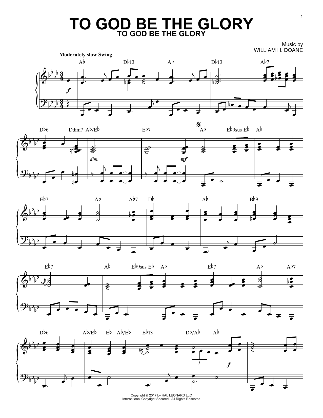 Fanny J. Crosby To God Be The Glory [Jazz version] sheet music notes and chords. Download Printable PDF.