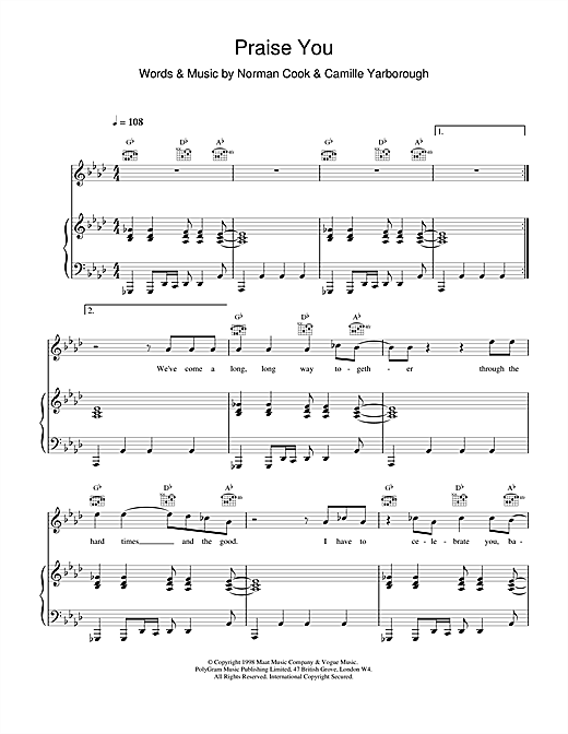 Fatboy Slim Praise You sheet music notes and chords. Download Printable PDF.