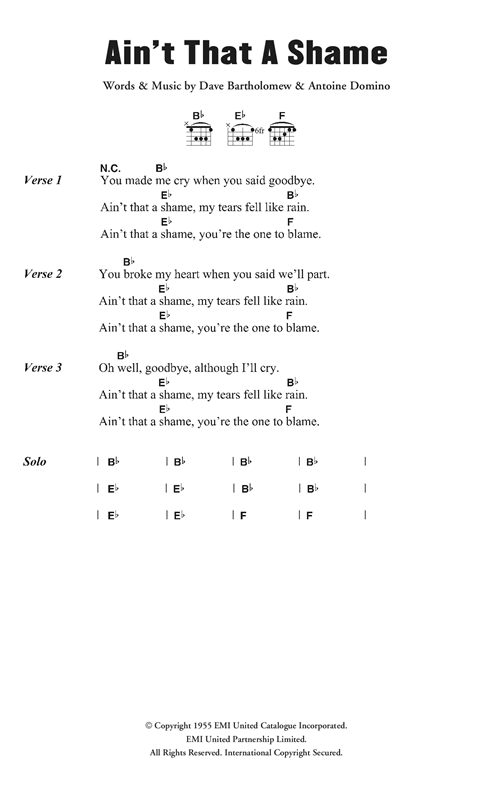 Fats Domino Ain't It A Shame sheet music notes and chords. Download Printable PDF.