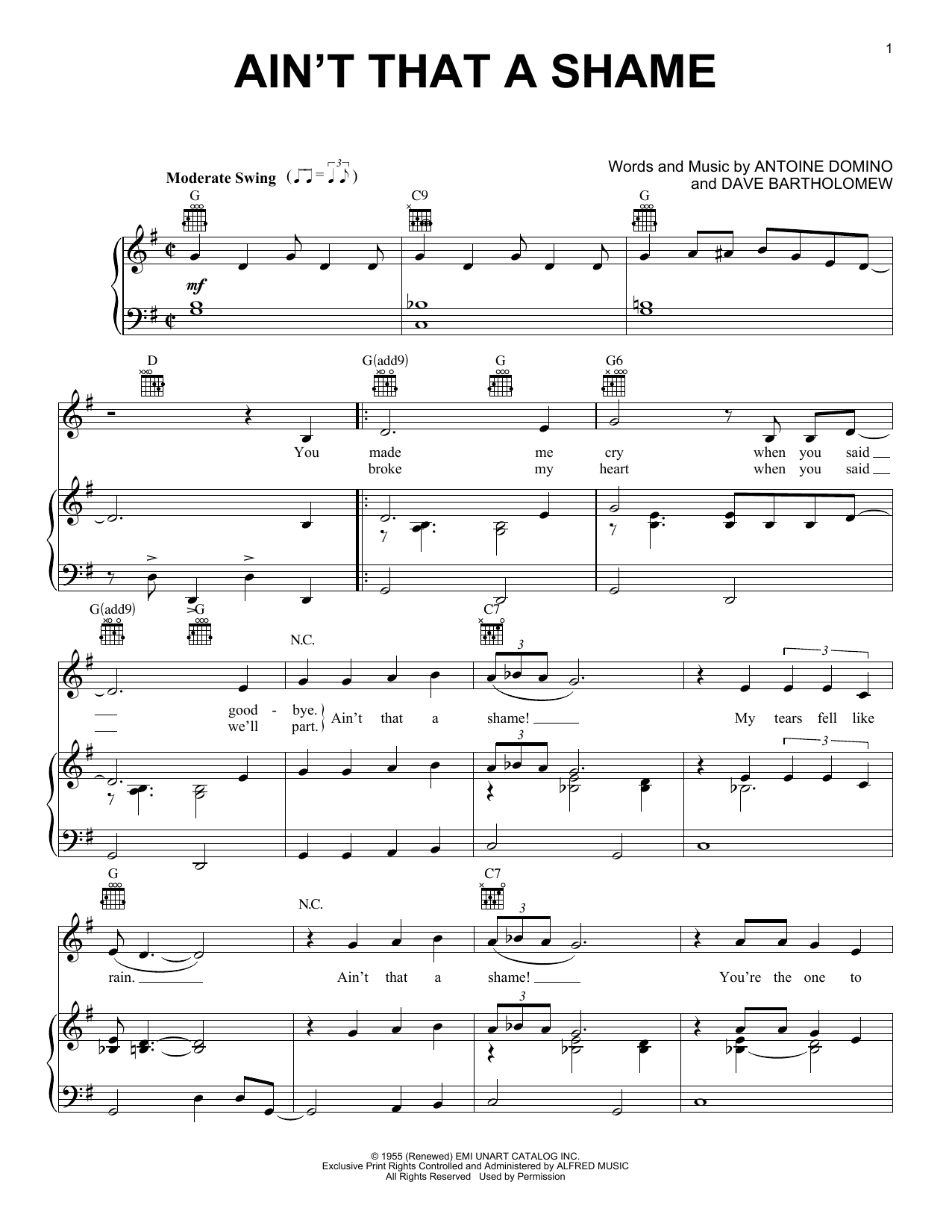 Fats Domino Ain't That A Shame sheet music notes and chords. Download Printable PDF.