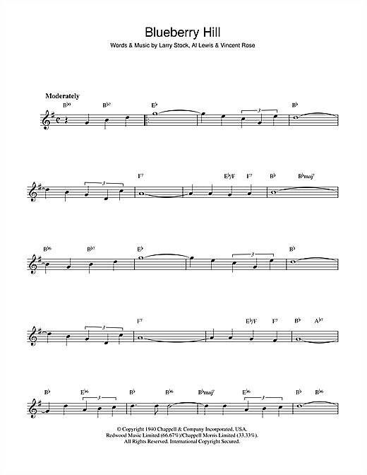 Fats Domino Blueberry Hill sheet music notes and chords. Download Printable PDF.