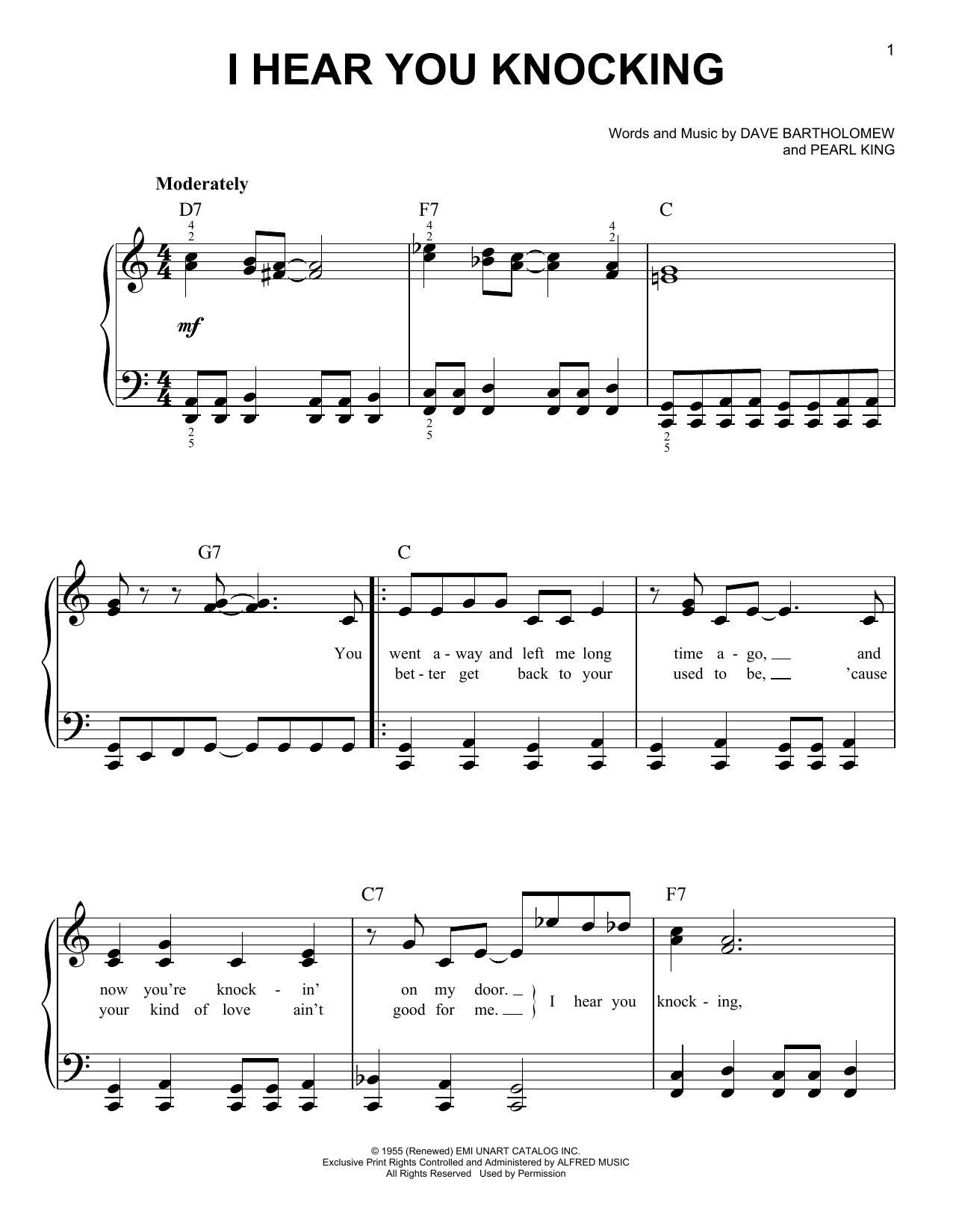 Fats Domino I Hear You Knocking sheet music notes and chords