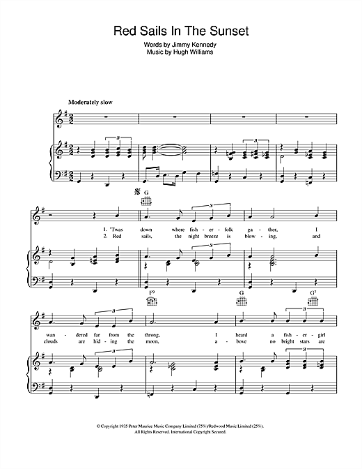 Fats Domino Red Sails In The Sunset sheet music notes and chords. Download Printable PDF.