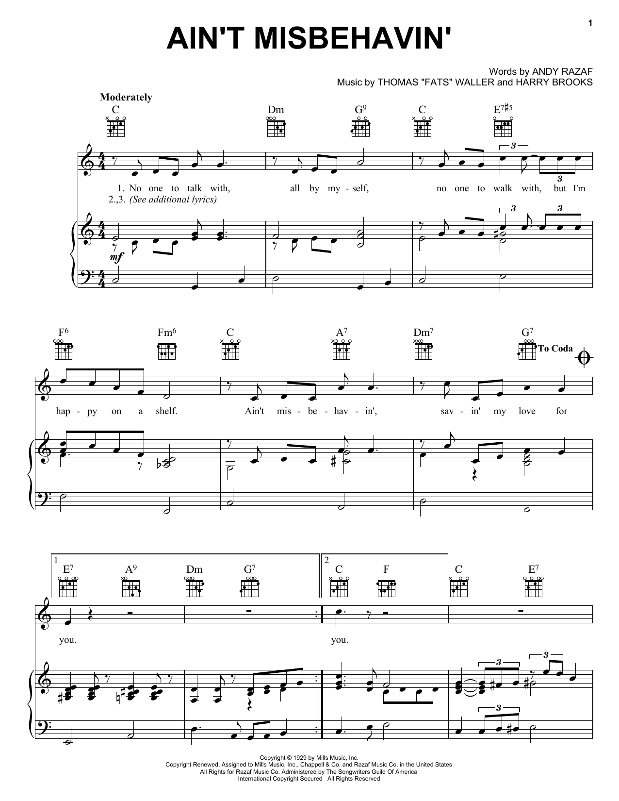Fats Waller Ain't Misbehavin' sheet music notes and chords. Download Printable PDF.