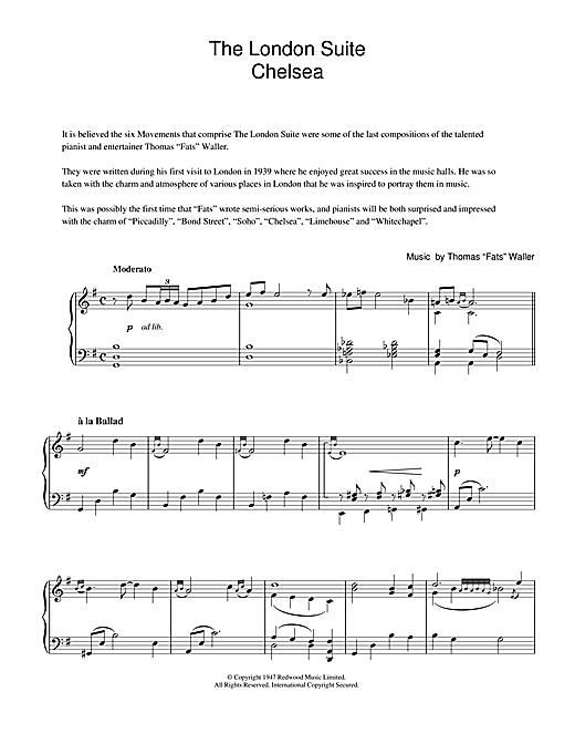 Fats Waller Chelsea (from The London Suite) sheet music notes and chords. Download Printable PDF.