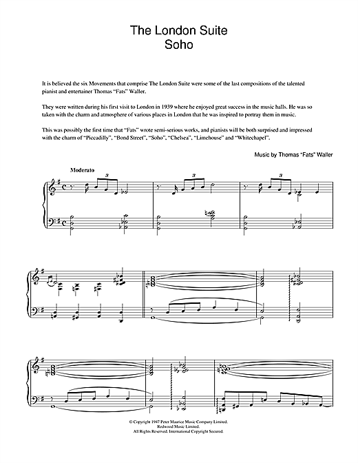 Fats Waller Soho (from The London Suite) sheet music notes and chords