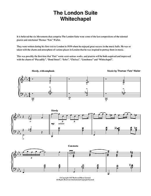 Fats Waller Whitechapel (from The London Suite) sheet music notes and chords