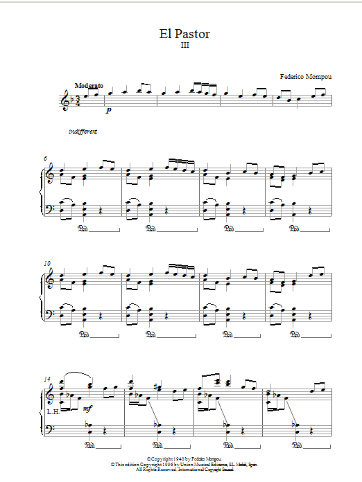 Mompou El Pastor III sheet music notes and chords. Download Printable PDF.