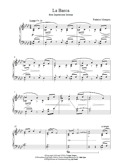 Mompou La Barca From Impresiones Intimas sheet music notes and chords. Download Printable PDF.