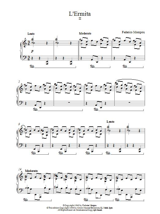 Mompou L'ermita sheet music notes and chords. Download Printable PDF.