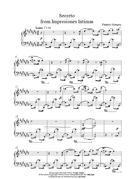 Mompou Secreto From Impresiones Intimas sheet music notes and chords. Download Printable PDF.