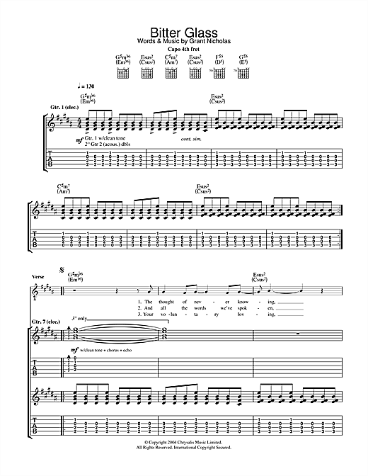 Feeder Bitter Glass sheet music notes and chords