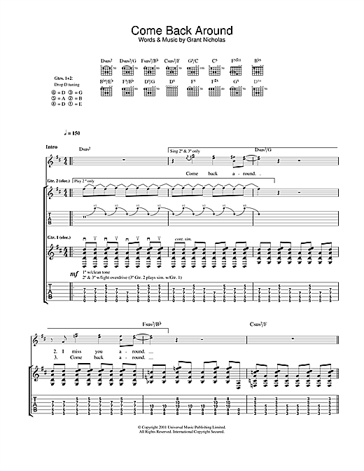 Feeder Come Back Around sheet music notes and chords