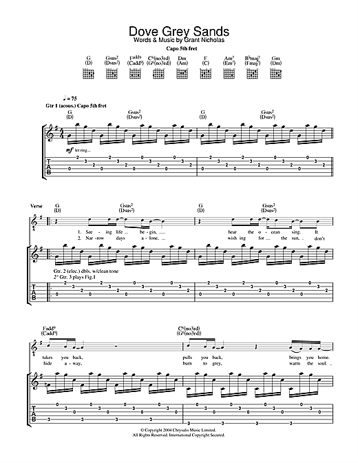 Feeder Dove Grey Sands sheet music notes and chords. Download Printable PDF.
