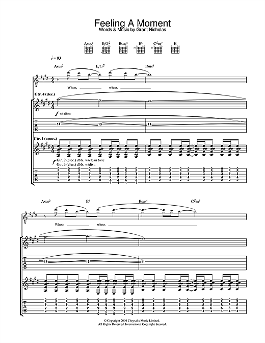 Feeder Feeling A Moment sheet music notes and chords. Download Printable PDF.